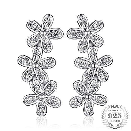 ZHWM - Pendientes de aro de plata de ley 925 con circonitas cúbicas y margaritas