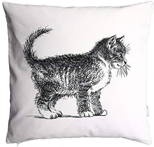 Katzen Kissen, schwarz/weiß, 40x40 cm Hülle, Baumwolle und Leinen, Tier Motiv, Deko, Sofa, Garten