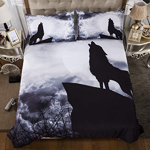 zzkds Night Sky Star Tigre en Blanco Tres Piezas de Cuatro Piezas Cubierta de edredón Animal Snow Wolf 173 * 218cm Set