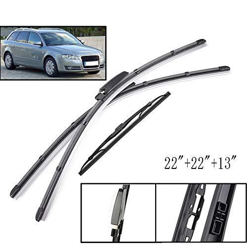 Unknow Juego de escobillas de limpiaparabrisas, para Audi A4 B6 B7 Limpiaparabrisas Delantero Trasero 2004 2005 2006 2007 2008 22