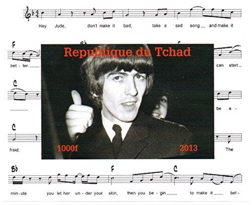 Die Beatles Briefmarken für Sammler - George Harrison Imperforate Miniatur-Briefmarkenbogens - Großartiger Zustand und frisch - 2013 / Tschad / 1000F