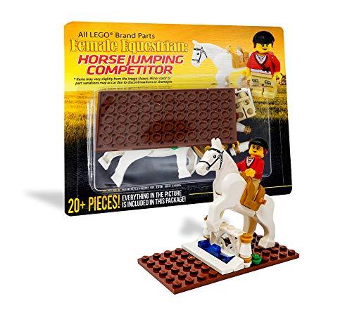 LEGO Horseback Riding Girl with Poseable Horse - Custom Female Equestrian Woman Rider Minifigure