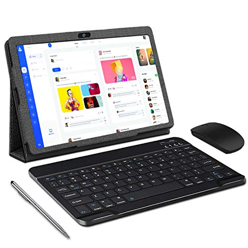 Tableta de 10 pulgadas Tableta Android 10 con teclado, 3 GB de RAM 32 GB de ROM / 128 GB ampliable, tabletas táctiles 4G LTE con cámara de 5MP + 8MP, WiFi, 8000 mAh, OTG, Bluetooth, GPS