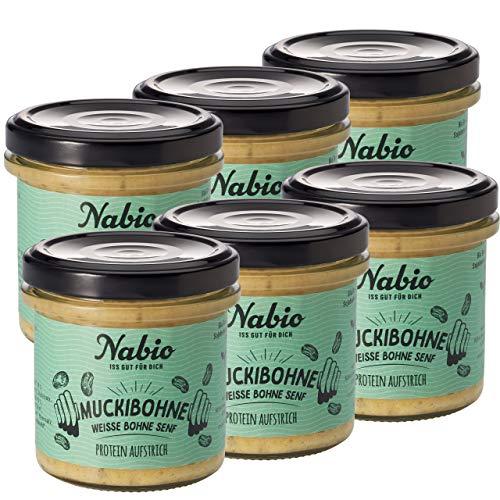 Nabio Protein-Aufstrich Weiße Bohne Rucola Senf, Bio Brotaufstrich vegan, viel natürliches Protein, 6er Pack (6 x 140 g)