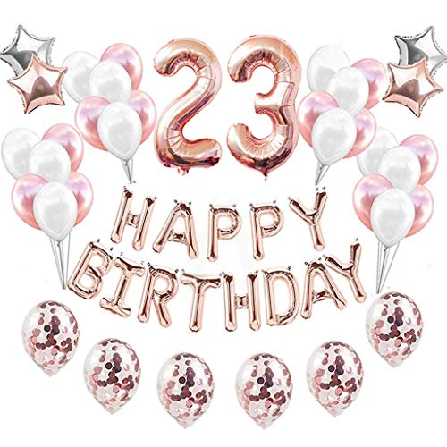 Feelairy 23 año Cumpleaños Globos Decoración Kit Oro Rosa, Happy Birthday Banner Globo Carta, Globos de Papel Aluminio Gigante Número 23 y Estrella Globos, Cumpleaños 23 para Mujer