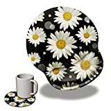 Ergonomic Gaming Mouse Pad with Wrist Rest Support,AIRWEE Non-Slip Rubber Base Round Mouse Mat with Stitched Edges for Computer Laptop Home & Office,White Daisy Flowers