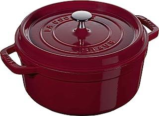 Staub Casserole Dish Round with Lid 24 cm 2.8 L with Matte Black Enamel Inside the Pot 3.8 Litres Bordeaux Red