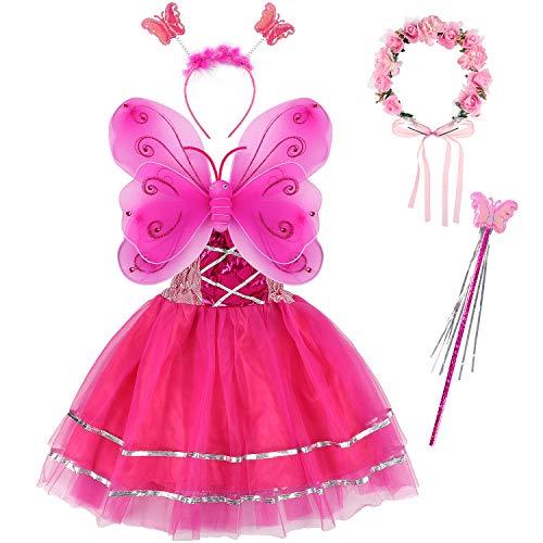 Tacobear Disfraz Hada Niña Disfraz Mariposa con Alas Hada Vestido Diademas Corona Flores Varitas Magicas Hada Mariposa Princesa Disfraces Accesorios Regalos Fiesta Cumpleaños para Niñas Niños (Pink)