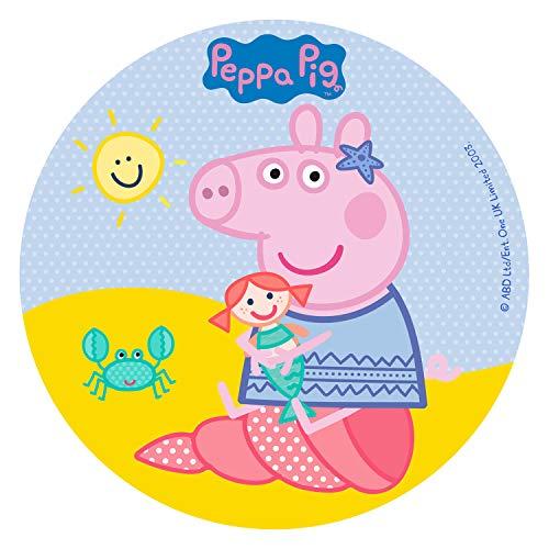 Für den Geburtstag ein Zuckerbild, Oblate mit dem Motiv: Peppa Pig, Essbares Foto für Torten, Tortenbild, Tortenaufleger Ø 16 cm 00071-E (Oblatenpapier)