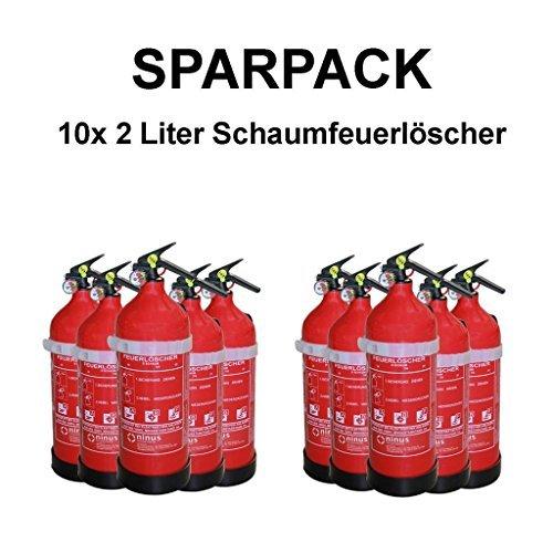 10x BASIC Fettbrandlöscher ninux ABF Feuerlöscher Schaum 2 Liter mit Halterung + Manometer