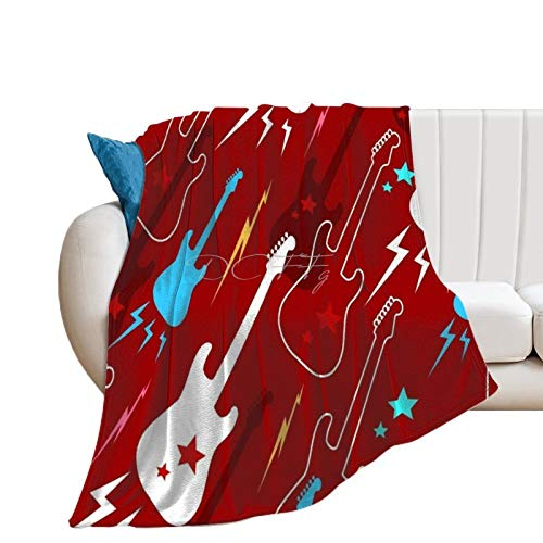 Throw Blanket for Bed Flannel Blankets Funky Red Guitar Electric Guitars Music Lightweight Ultra Soft for All Season Farmhouse Decorative Blanket for Couch Sofa Travel Birthday Gift 70x80 Inch