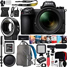 Nikon Z6 Mirrorless FX-Format Full-Frame 4K Ultra HD Camera Body (1598) with NIKKOR Z 24-70mm f/4 S Lens Kit and FTZ Mount Adapter for F-Mount + 120GB Memory Card Deco Gear Backpack Microphone Bundle