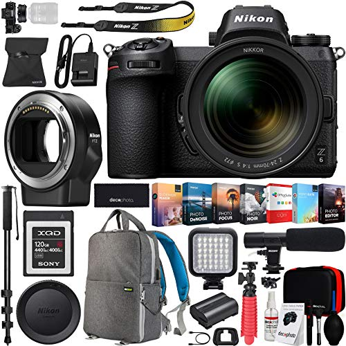 Nikon Z6 Mirrorless FX-Format Full-Frame 4K Ultra HD Camera Body (1595) Mount Adapter FTZ for F-Mount and 120GB Memory Card Deco Gear Backpack Accessory Kit Microphone Software Bundle