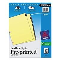 Avery印刷済みブラックレザータブディバイダーW /銅強化、穴、12-tab Letter