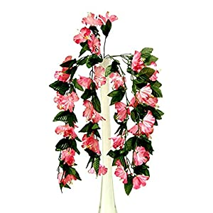 Artificial Flowers – Mauve 26″ Hanging Hibiscus Bush Artificial Silk Flowers Wedding Arch Centerpiece Vines ~ for Wedding – for Accessories
