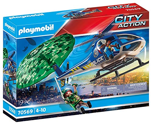 PLAYMOBIL City Action 70569 Helicóptero de la policía: persecución en paracaídas, para niños de 4 a 10 años