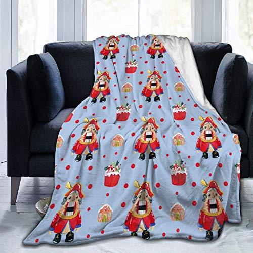 Manta de forro polar clásica de franela transpirable para niños y adultos (Nutcracker magdalena, casa de jengibre, Navidad, 152 x 201 cm)