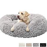 HANHAN - Colchón ortopédico de peluche mullido para perro, tamaño mediano/extra grande/jumbo, 2 perros mayores, para labrador, calmante, ansiedad, cueva sofá, lavable, cómodo, redondo, XL, gris