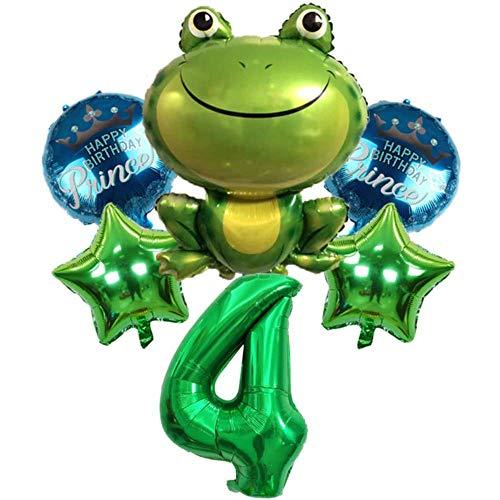 DIWULI, juego de globos de príncipe rana, globo número 4 verde, globo de lámina de sapo, feliz cumpleaños príncipe, 4º cumpleaños infantil, fiesta temática, decoración, globo de lámina