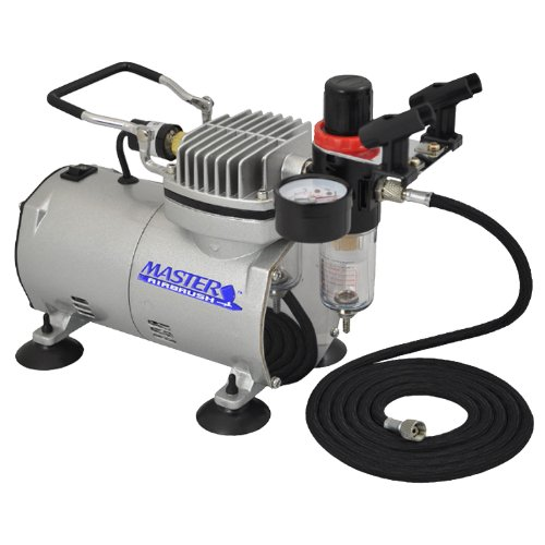 Master Airbrush High Performance Airbrush Air Compressor with Filter, Black Air Hose & Dual-Brush Holder
