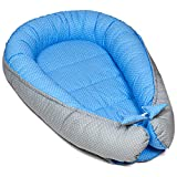 nido bebe recien nacido - reductor de cuna cojin colecho de dos caras algodón (90 x 50 cm, lunares blancos sobre azul)