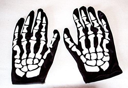 Rotschild-Wellness GmbH Skelett Handschuhe für Jugendliche Knochen schwarz Horror Sensenmann Halloween