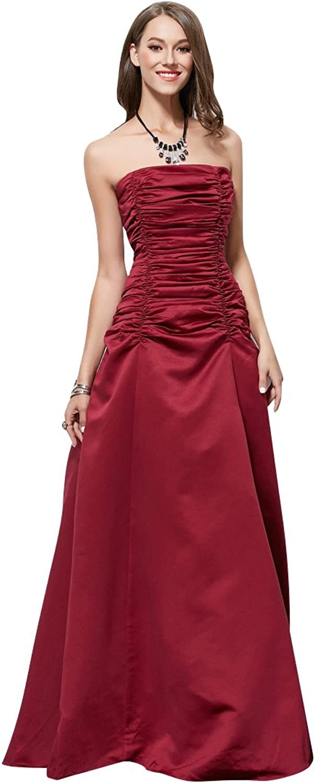 BeautyEmily Tube Sleeveless Satin Pleated Evening Dresses