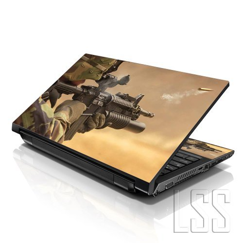 LSS (17-17,3 Zoll) Notebook Laptop Skin Aufkleber für 16,5 cm, 17 Zoll, 17,3 Zoll, 18,4, 19 Zoll, Apple, Asus, Acer, HP, Dell, Lenovo, Asus, Compaq, inkl. 2 Wrist Pad Shooting Army Rifle