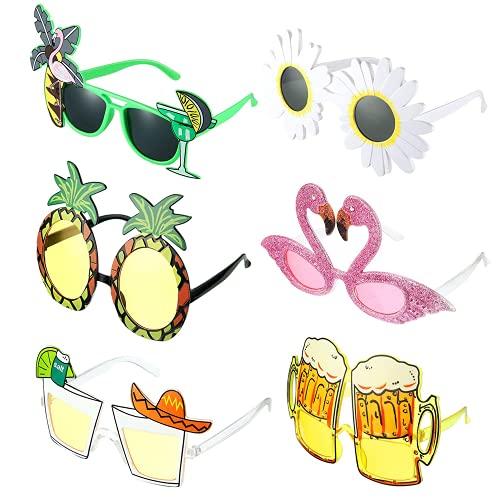 MOPOIN 6 Pezzi Occhiali Divertenti, Hawaiian Tropicale Festa Occhiali Occhiali da Sole per Feste novità Puntelli per Foto, per Decorazioni a Tema Spiaggia, Accessori per Feste(6 Disegni)