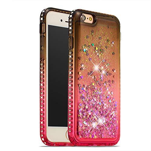 COTDINFOR iPhone 6S Funda Líquido Degradado de Color Glitter Sparkle Bling Quicksand Caso Silicona Blanda Protectora Carcasa para iPhone 6 / 6S TPU Gray Pink YB.