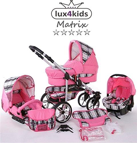 Chilly Kids Matrix 2 poussette combinée Set – hiver (chancelière, siège auto & adaptateurs, habillage pluie, moustiquaire, roues pivotantes) 51 rose & carreaux