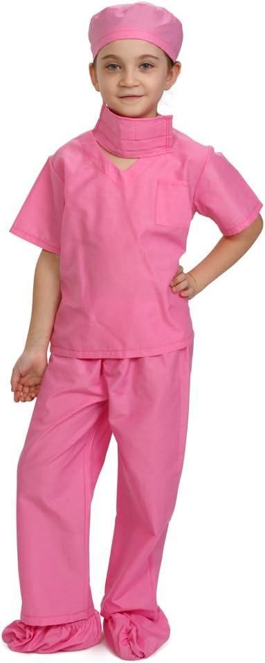 Dress Up America- Children Kids Scrub's Rosa médico Scrubs Disfraz niños Pretend del Doctor Scrub Play Outfit, Color, 4-6 años (74 cm Cintura, 107 cm Altura) (874P-S)