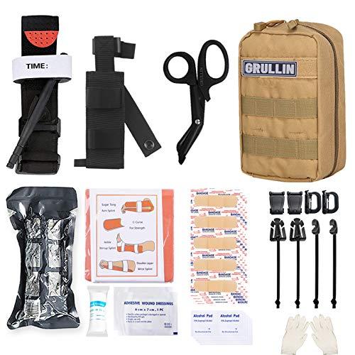 GRULLIN Molle IFAK Trauma Kit, Tactical First Aid Kit, Emergency EMT for Car Travel Adventure Kayak Camp Hunt, Tourniquet Bandage Bleed Control Kit