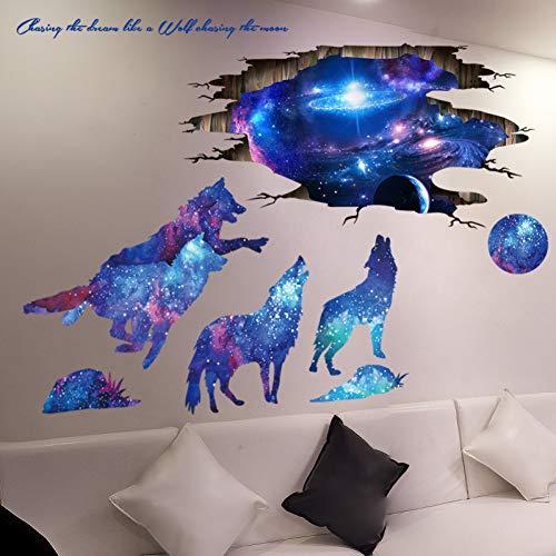 ERQINGQT Wandaufkleber Universum Galaxy Wandaufkleber Vinyl DIY Milchstraße Mond Wölfe Wandtattoo Für Kinderzimmer Baby Schlafzimmer Dekoration