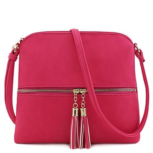 Lightweight Medium Crossbody Bag with Tassel (Fuchsia)