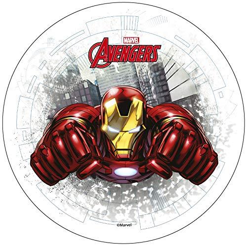 Avengers Iron Man - Decoración comestible para tarta (20 cm) Producto con licencia. Modecor.