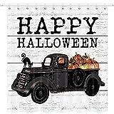 JAWO Happy Halloween Duschvorhang, Herbst-Kürbis-Motiv, schwarzer LKW & schwarze Katze, Polyester-Stoff, Badvorhänge Set mit Haken, 170 x 170 cm (B x L)