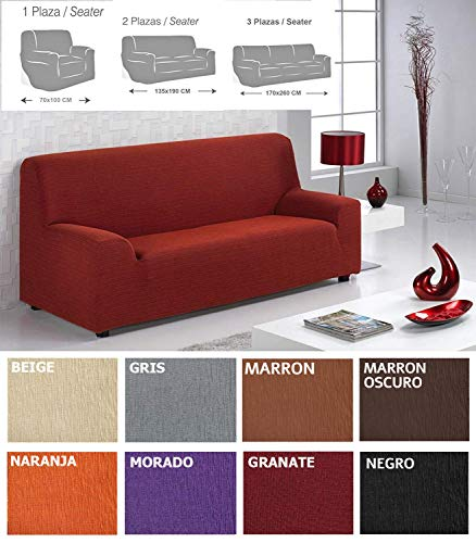 MercuryTextil Fundas de Sofas elasticas y adapatable, Funda Sofa 1,2,3 plazas Sofa Clic (Granate, 3PLAZAS 170-260CM)