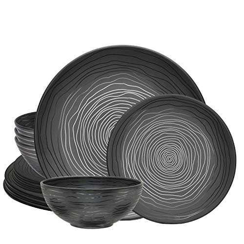 bzyoo BPA-Free Dishwasher Safe 100% Melamine Plate & Bowl Set Best for Indoor and Outdoor Party Environmental Friendly (12 PCS Dinnerware set, Service for 4, Organica Black)