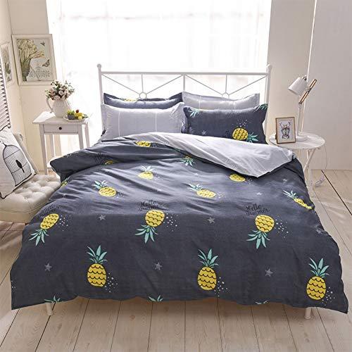 Feelyou Kinder-Bettwäsche-Set mit Ananas-Muster, Queen-Size-Größe, 3-teilig, Premium-Mikrofaser, süßer Obst-Druck, Bettbezug für Mädchen & Jungen, 2 Kissenbezüge + 1 Tagesdecke, Bezug Reißverschluss