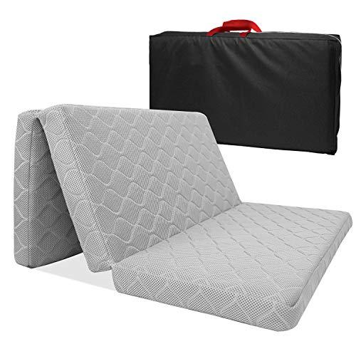 ZEHNHASE Colchón Plegable para Cuna de Viaje Transpirable Impermeable Colchones Plegable Gris - 96.5 * 66 * 6cm