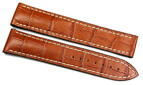 RIOS1931 20 mm/18 mm reloj de pulsera correa de piel auténtica hecha cocodrilo en relieve cinta color marrón coñac para cierre desplegable. Apta para Omega Alemania imitación cocodrilo. Alligator