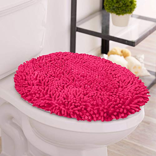 LuxUrux Toilet Lid Cover, Extra-Soft Plush Seat Cloud Washable Shaggy Microfiber Standard Toilet Lid Covers for Bathroom Machine Wash & Dry. (Round Lid Cover, Hot Pink)