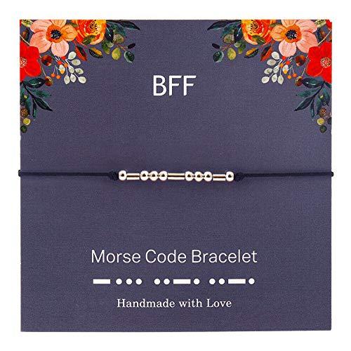 Simple pair of bracelet, Morse password alphanumeric, password bracelet, suitable for travel commemorations, employee benefits, anniversary celebrations, business gifts, birthdays (A, 24 cm)