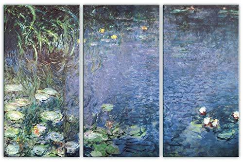 1art1 Claude Monet - Nympheas, Mañana, 3 Partes Cuadro, Lienzo Montado sobre Bastidor (120 x 80cm)