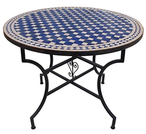 Saharashop Orientalischer Mosaiktisch Rund Ø 100 cm Dama Blau-Natur