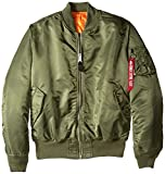 Alpha Industries Alpha MA-1 Flight Jacket Made With 100% Flight Nylon for Intermediate Weather for Men | Core Fit - Above Hip Length - Size Large - Sage