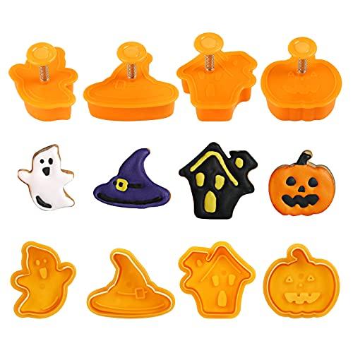 Gwhole 4 pz Stampi Biscotti 3D Halloween Formine per Biscotti Plastica Animali Piccole Taglierine Stampini a Forma di Zucca Fantasma per Fai da Te Cottura al Forno Pasta Dolci