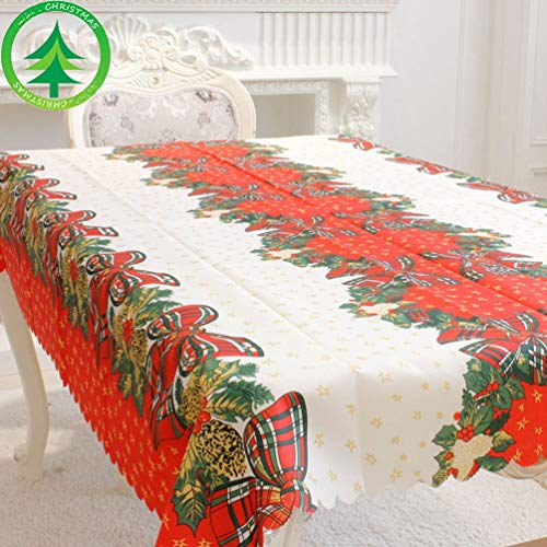 Christmas Tablecloth Rectangle for Home Party Picnic Dining Wedding Decoration Garland Table Cover Wreath Printed Polyester 59 x 71 Inches (5)