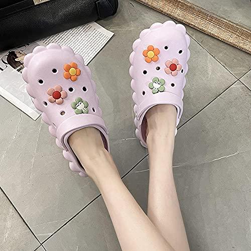 Zapatillas De Casa De Mujer Invierno,Zapatos De Cueva, SeñOras En Ropa De Verano Moda Red Red Explosion Modelos Lindo Bolsa De Fondo Grueso Bolsa Cabeza Zapatillas-Modelos De Mujeres_36_púRpura